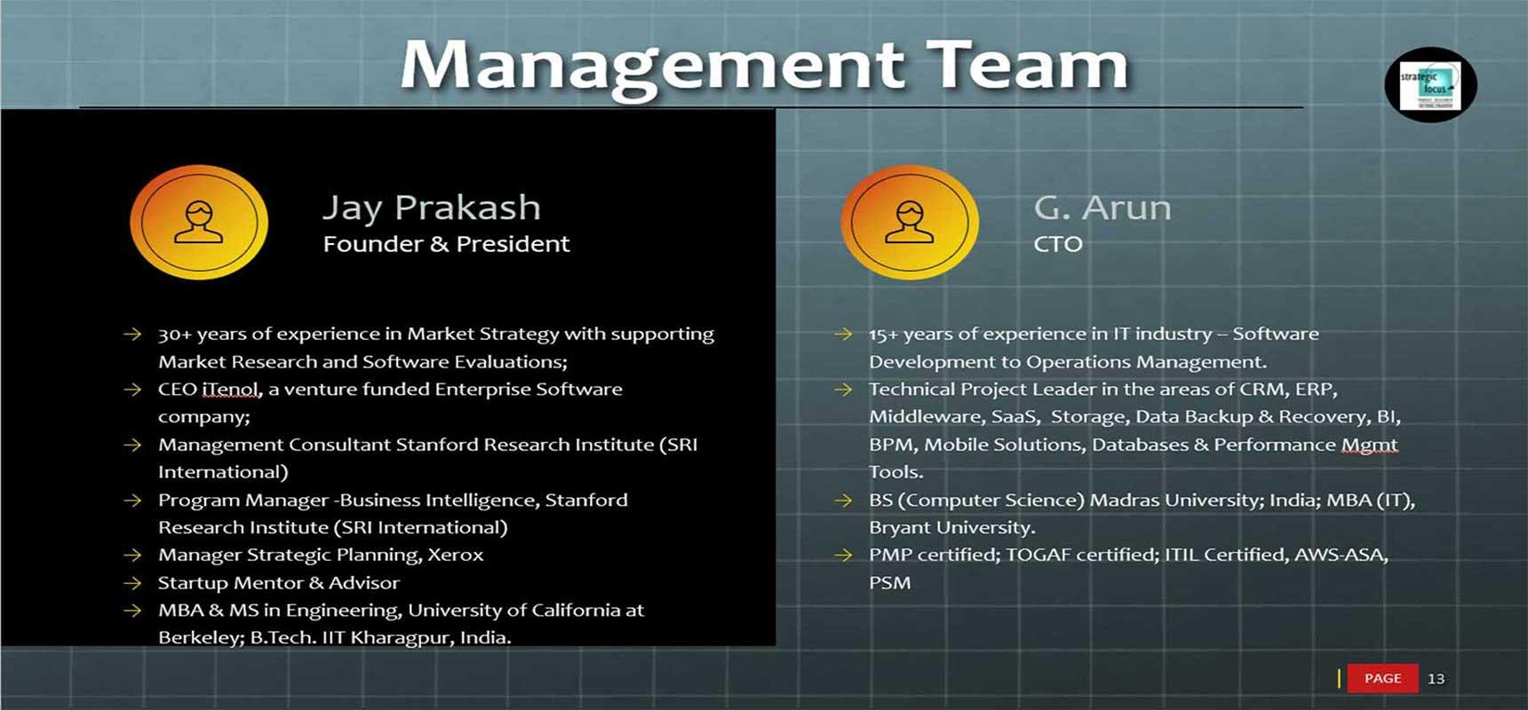 management team slide - software testing