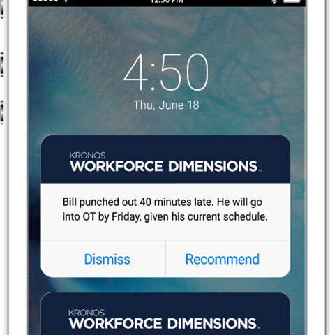 kronos app reminder on cell phone