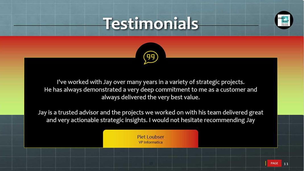 testimonials slide for strategic focus